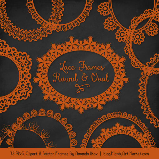 Pumpkin Round Digital Lace Frames Clipart