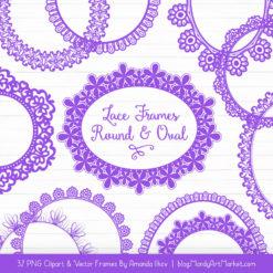 Purple Round Digital Lace Frames Clipart