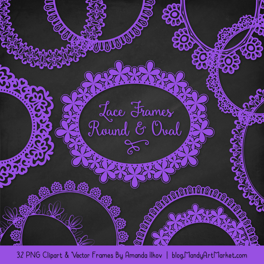 Purple Round Digital Lace Frames Clipart
