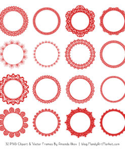 Red Round Digital Lace Frames Clipart