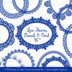 Royal Blue Round Digital Lace Frames Clipart