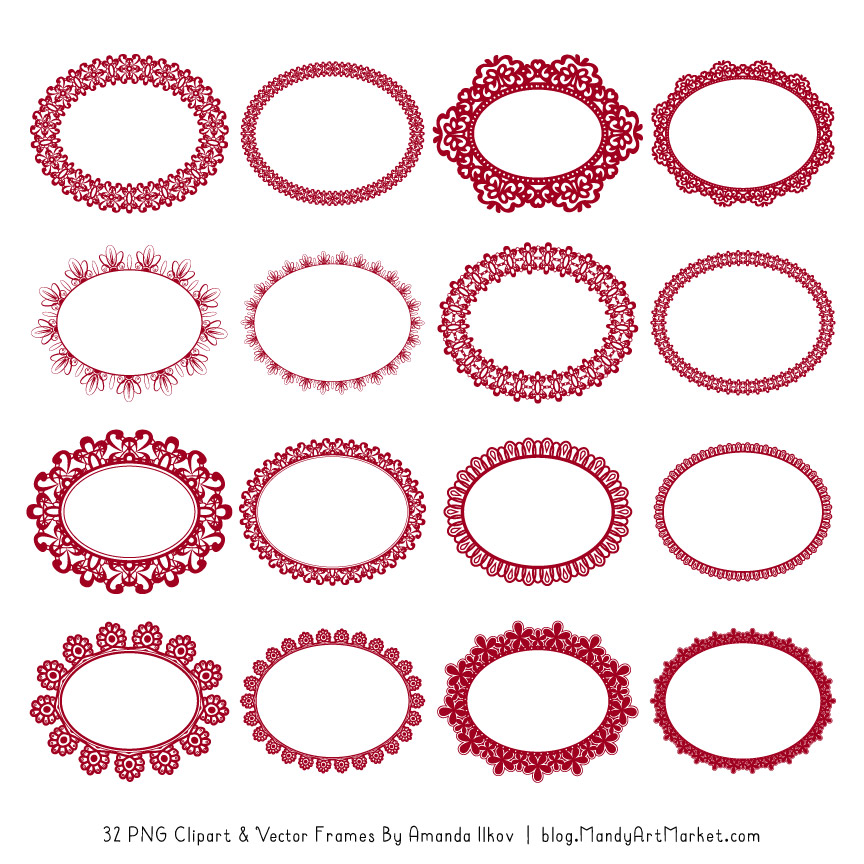 Ruby Round Digital Lace Frames Clipart