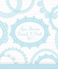 Soft Blue Round Digital Lace Frames Clipart