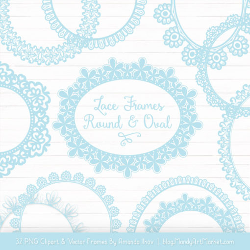 Soft Blue Round Digital Lace Frames Clipart