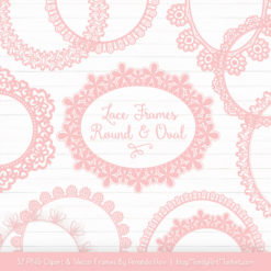 Soft Pink Round Digital Lace Frames Clipart