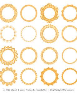 Sunshine Round Digital Lace Frames Clipart