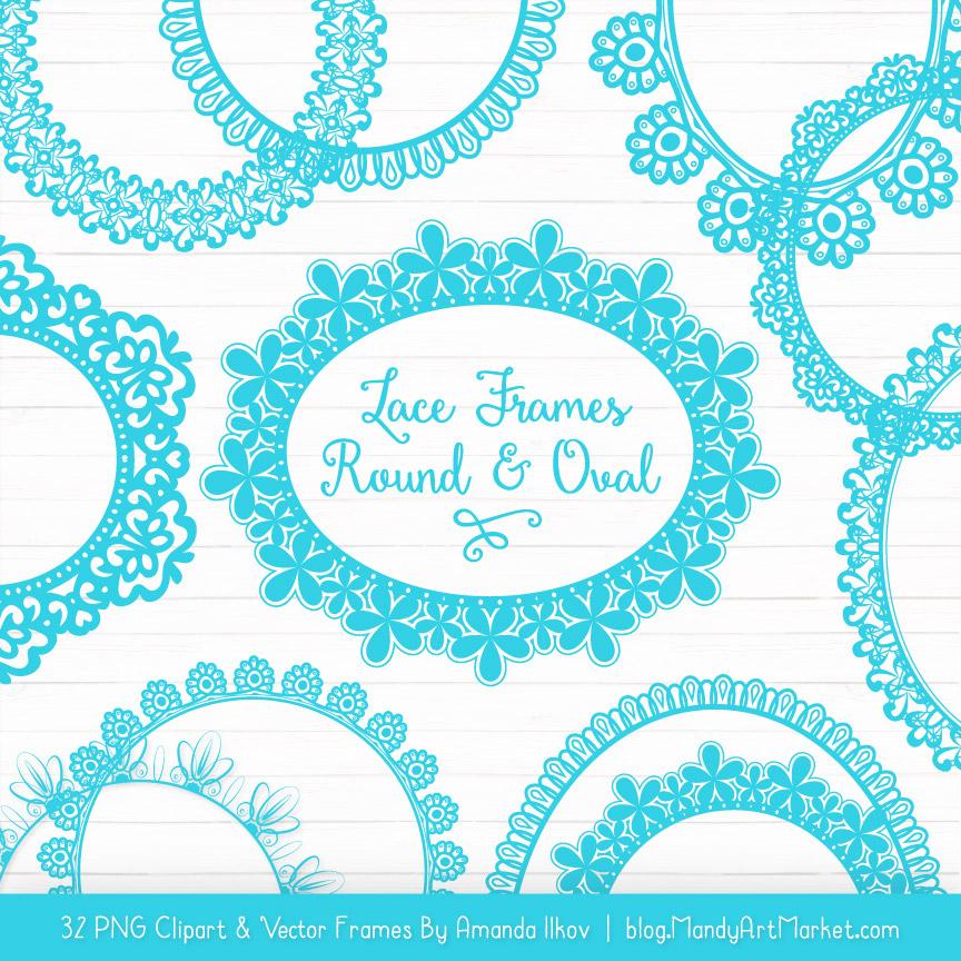 Tropical Blue Round Digital Lace Frames Clipart