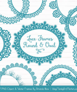 Vintage Blue Round Digital Lace Frames Clipart
