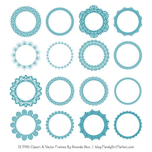 Vintage Blue Round Digital Lace Frames Clipart