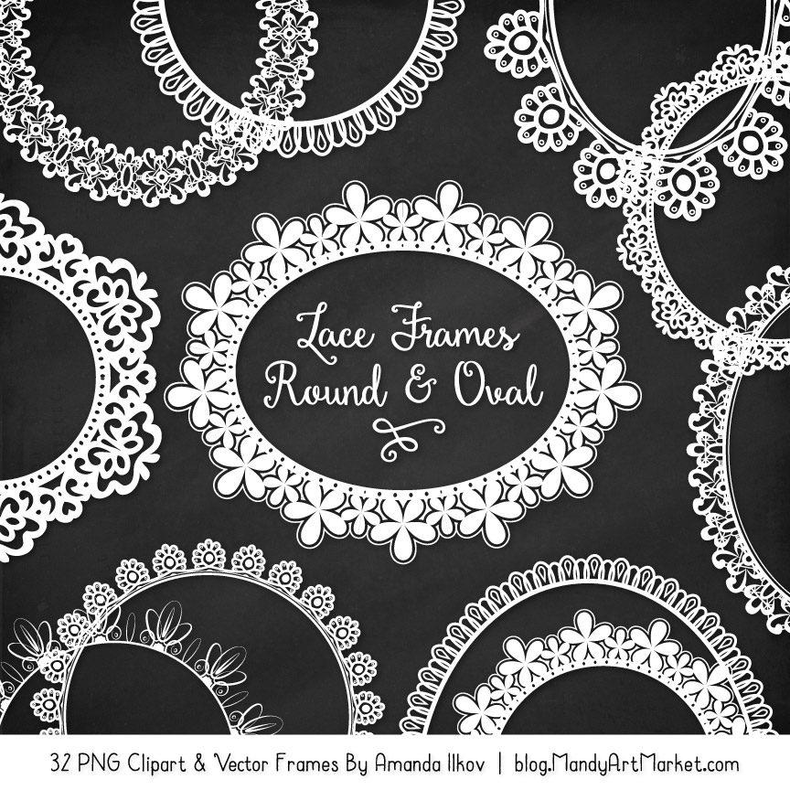 White Round Digital Lace Frames Clipart