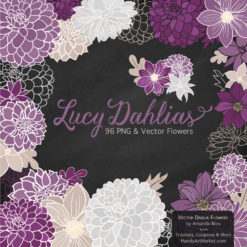 AmethystLucyDahlias package 2 247x247 - New Lucy Dahlia Clipart in 96 Colors