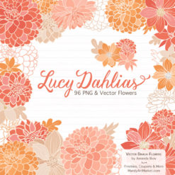 Antique Peach Dahlia Clipart