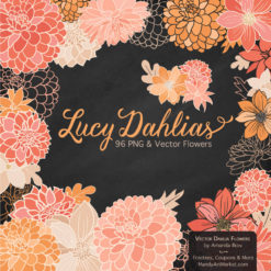 AntiquePeachLucyDahlias package 2 247x247 - New Lucy Dahlia Clipart in 96 Colors