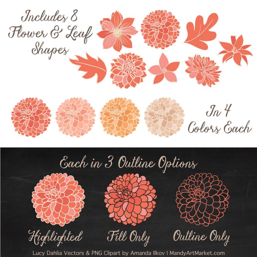 Antique Peach Dahlia Clipart