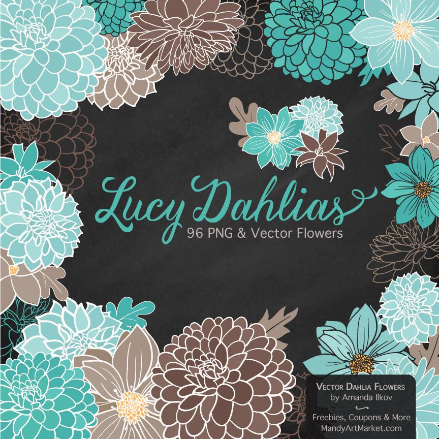 Aqua & Brown Dahlia Clipart