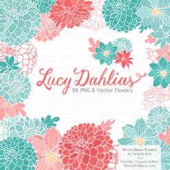 Aqua & Coral Dahlia Clipart