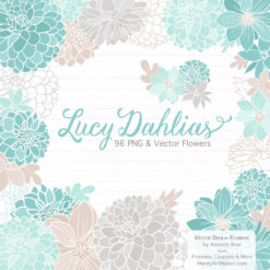 AquaLucyDahlias package 1 247x247 - New Lucy Dahlia Clipart in 96 Colors
