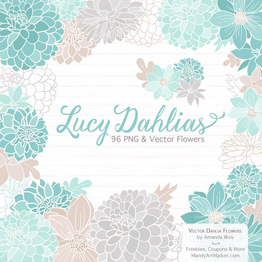 Aqua Dahlia Clipart