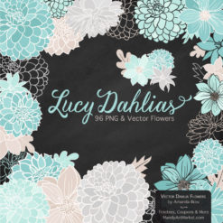AquaLucyDahlias package 2 247x247 - New Lucy Dahlia Clipart in 96 Colors