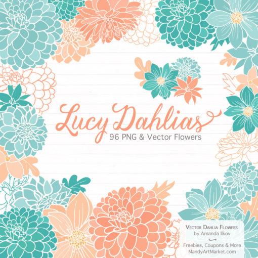 Aqua & Peach Dahlia Clipart