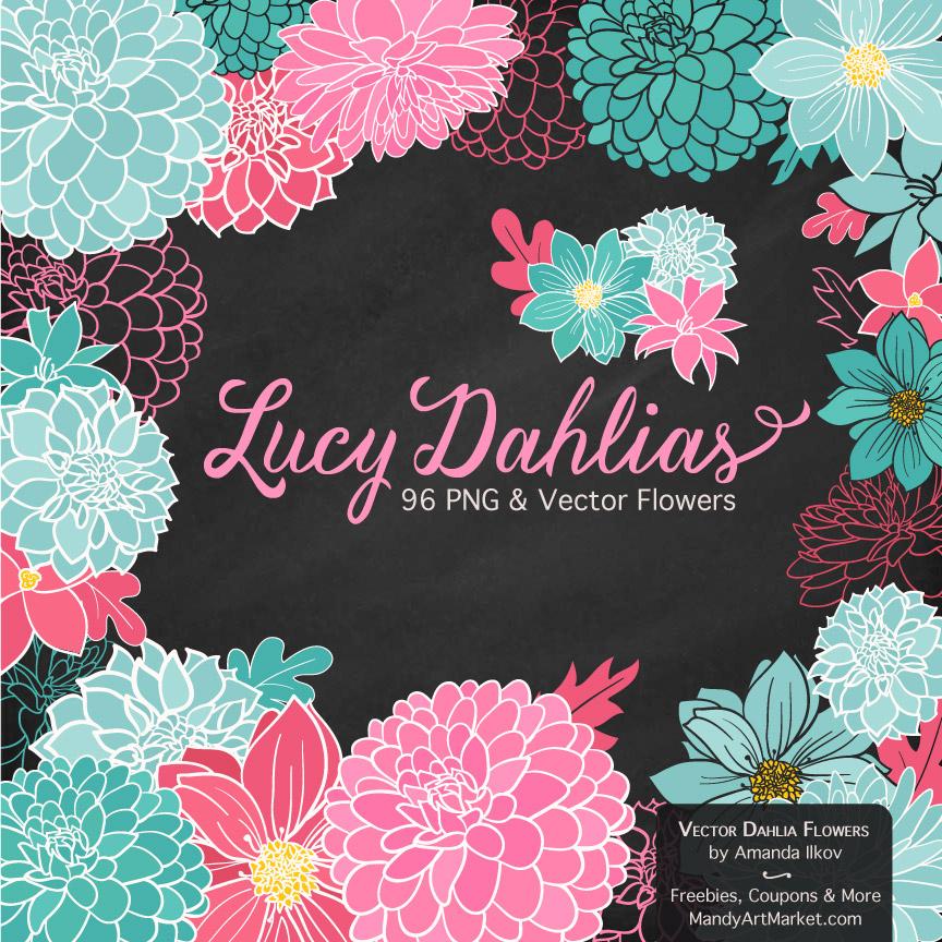 Aqua & Pink Dahlia Clipart