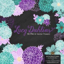 Aqua & Purple Dahlia Clipart