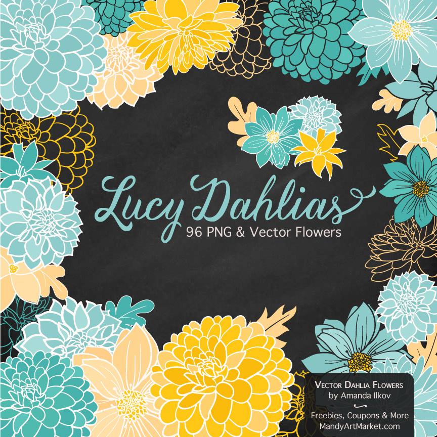 Aqua & Yellow Dahlia Clipart