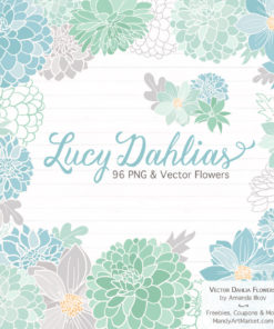 Blue & Mint Dahlia Clipart
