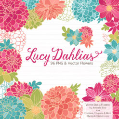 BohemianLucyDahlias package 1 247x247 - New Lucy Dahlia Clipart in 96 Colors