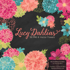 BohemianLucyDahlias package 2 247x247 - New Lucy Dahlia Clipart in 96 Colors