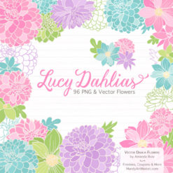 FreshGirlLucyDahlias package 1 247x247 - New Lucy Dahlia Clipart in 96 Colors