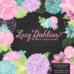 FreshGirlLucyDahlias package 2 247x247 - New Lucy Dahlia Clipart in 96 Colors