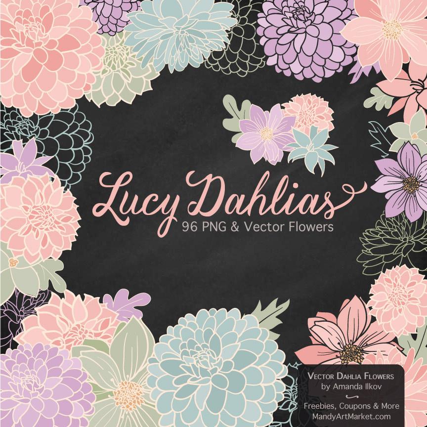 Grandmas Garden Dahlia Clipart