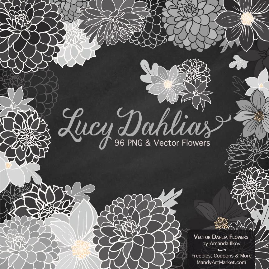 Grey Dahlia Clipart