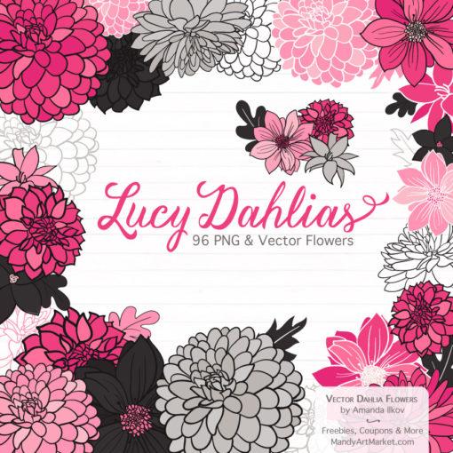 Hot Pink Dahlia Clipart