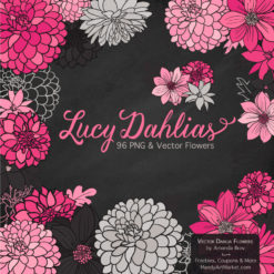 Hot Pink Dahlia Clipart