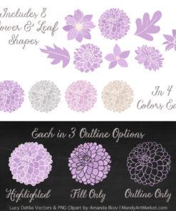 Lavender Dahlia Clipart