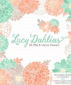Mint & Peach Dahlia Clipart