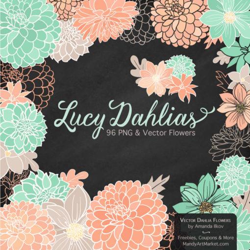 Mint & Peach Dahlia Clipart