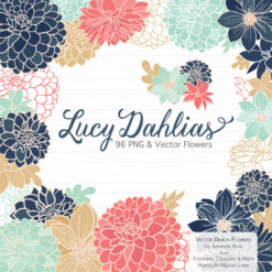 ModernChicLucyDahlias package 1 247x247 - New Lucy Dahlia Clipart in 96 Colors