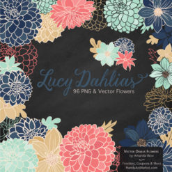 ModernChicLucyDahlias package 2 247x247 - New Lucy Dahlia Clipart in 96 Colors