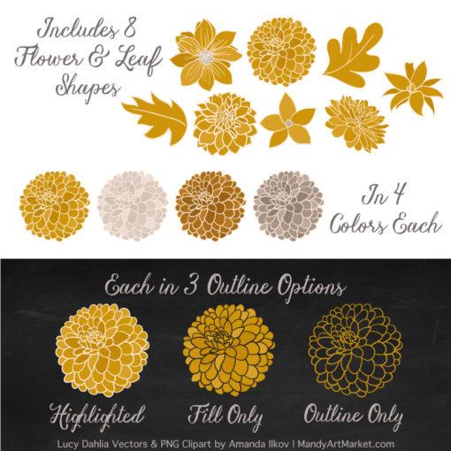 Mustard Dahlia Clipart