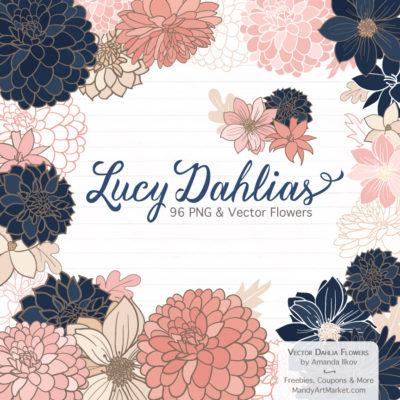 NavyBlushLucyDahlias package 1 400x400 - Free Dahlia Clipart in Navy & Blush