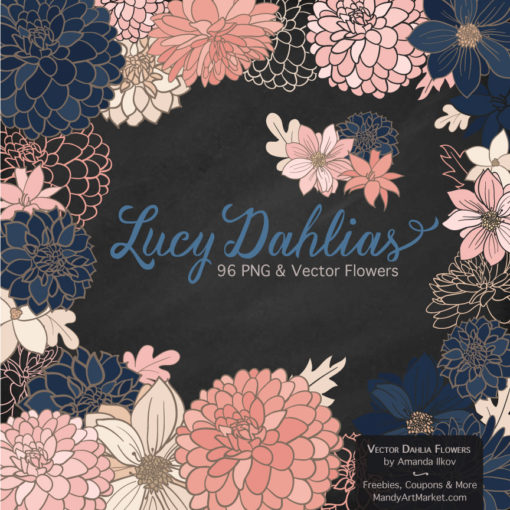 Navy & Blush Dahlia Clipart