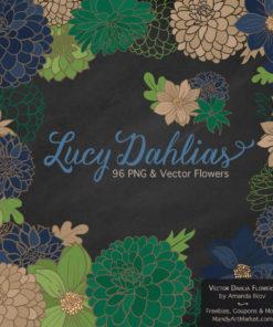 Navy & Emerald Dahlia Clipart