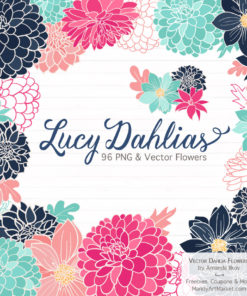 Navy & Hot Pink Dahlia Clipart