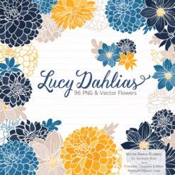Navy & Lemon Dahlia Clipart