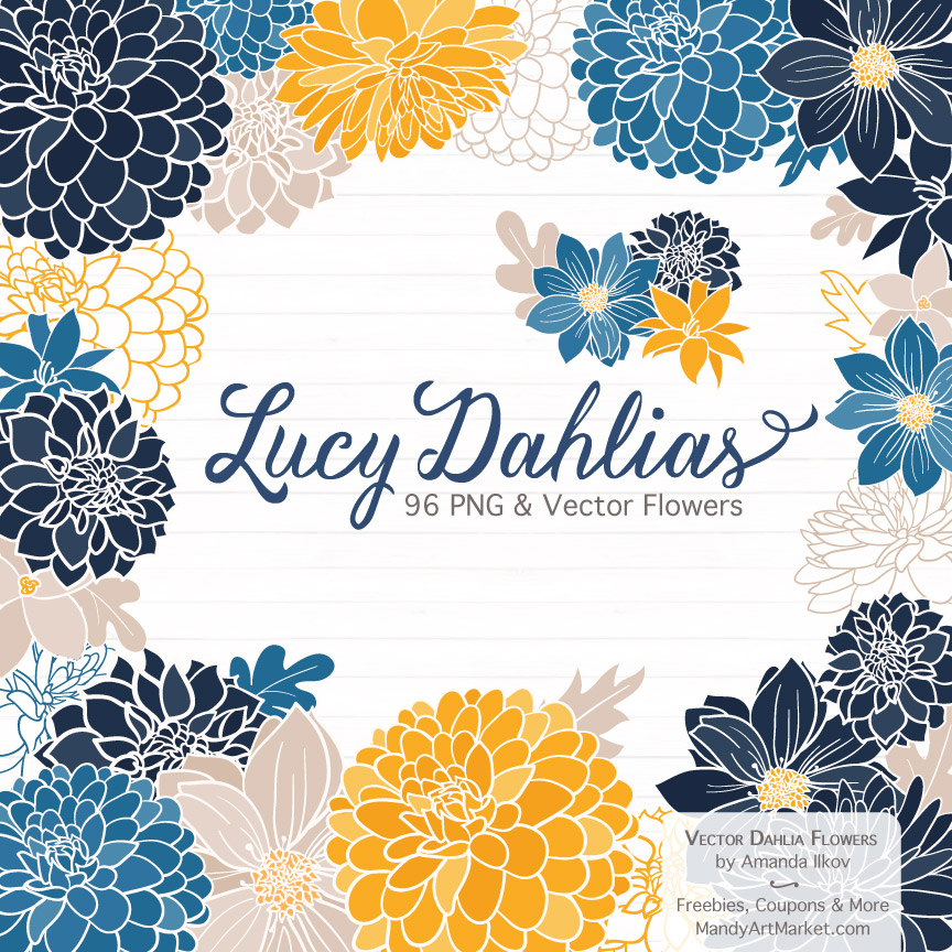 Navy & Lemon Dahlia Clipart