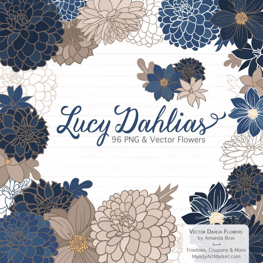 Navy Dahlia Clipart
