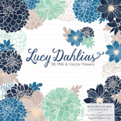 Navy & Mint Dahlia Clipart